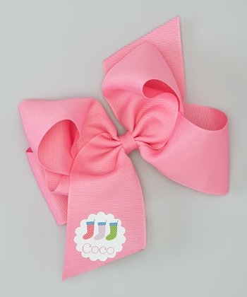 Hot Pink Stocking Personalized Bow Clip