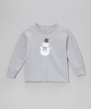 Gray Snowman Personalized Tee - Infant, Toddler & Boys