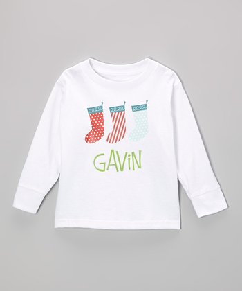 Red & Blue Stocking Personalized Tee - Infant, Toddler & Boys