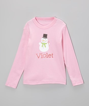 Pink Snowman Personalized Tee - Infant, Toddler & Girls