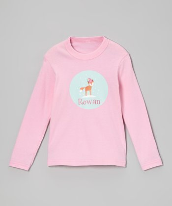 Pink Personalized Holiday Fox Tee - Infant, Toddler & Girls