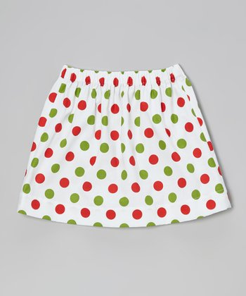 Red & Green Polka Dot Skirt - Toddler & Girls