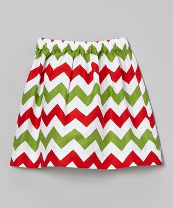 Red & Green Zigzag Skirt - Toddler & Girls
