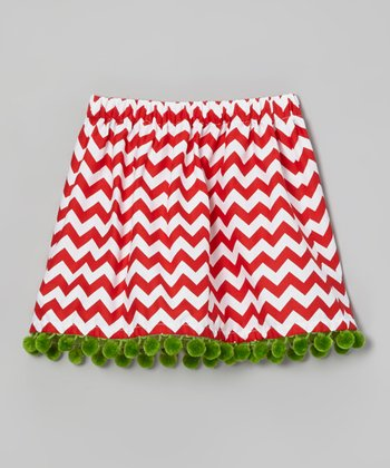 Red & White Zigzag Pom-Pom Skirt - Toddler & Girls