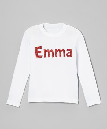 White Glitter Personalized Tee - Infant, Toddler & Girls