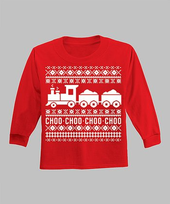 Red 'Choo Choo' Long-Sleeve Tee - Infant