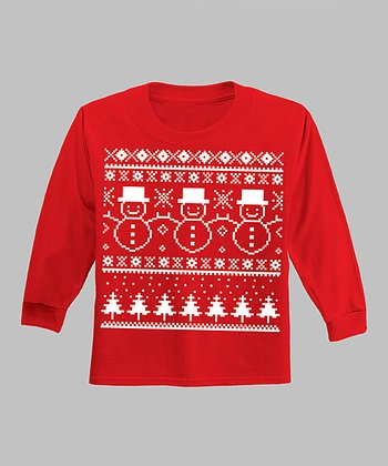 Red Three Little Snowmen Long-Sleeve Tee - Infant