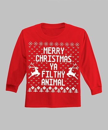 Red 'Merry Christmas Ya Filthy Animal' Long-Sleeve Tee - Infant
