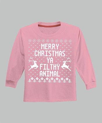 Pink 'Merry Christmas Ya Filthy Animal' Long-Sleeve Tee - Infant