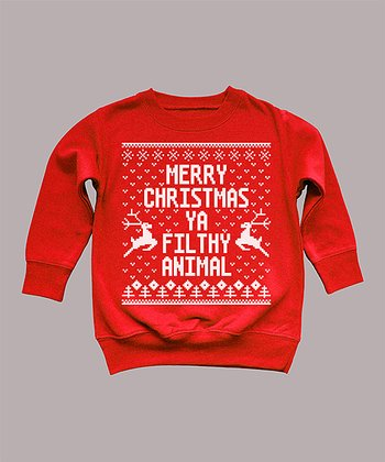 Red 'Merry Christmas Ya Filthy Animal' Sweatshirt - Toddler & Kids