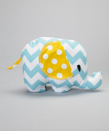 Aqua Zigzag Elephant Plush Toy