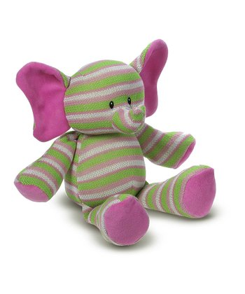 Green & Pink Stripe Knitties Elephant Plush Toy