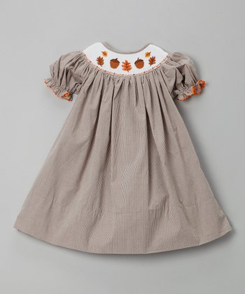 Brown Gingham Acorn Bishop Dress - Infant, Toddler & Girls