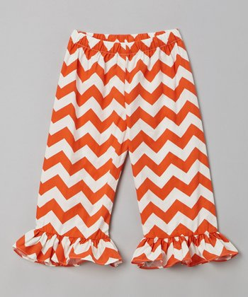 Orange Zigzag Ruffle Pants - Infant, Toddler & Girls