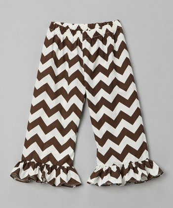 Brown Zigzag Ruffle Pants - Infant, Toddler & Girls