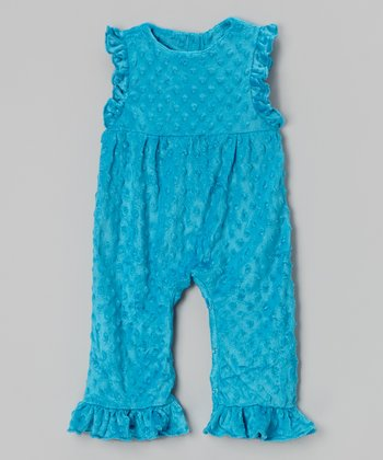 Turquoise Minky Ruffle Playsuit - Infant & Toddler