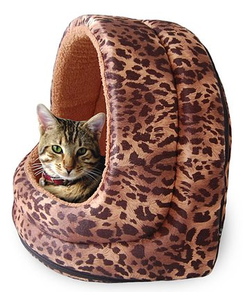 Leopard Furry Canopy Cave Pet Bed