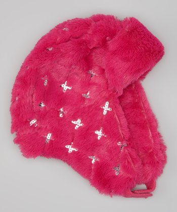 Pink Sequin Faux Fur Chin Strap Trapper Hat