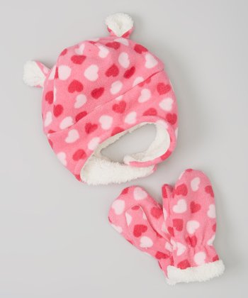 Pink Heart Ear Fleece Earflap Beanie & Mittens