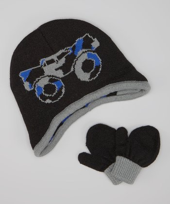 Black & Blue Monster Truck Earflap Beanie & Mittens