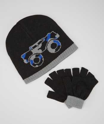 Black & Blue Monster Truck Beanie & Fingerless Gloves