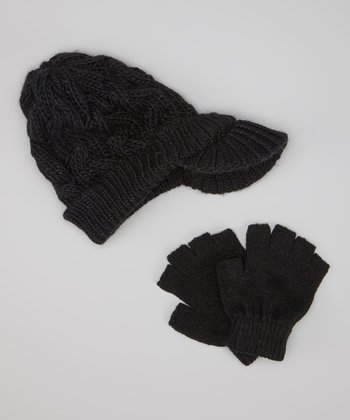 Black Cable-Knit Brimmed Beanie & Fingerless Gloves