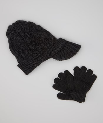 Black Cable-Knit Brimmed Beanie & Gloves