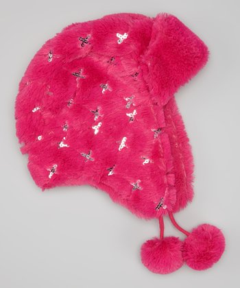 Pink Sequin Faux Fur Trapper Hat