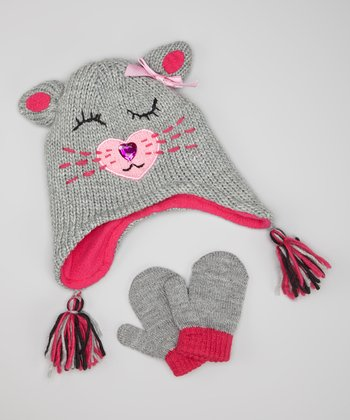Gray & Pink Kitty Earflap Beanie & Mittens