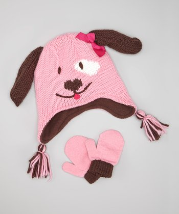 Brown & Pink Dog Earflap Beanie & Mittens