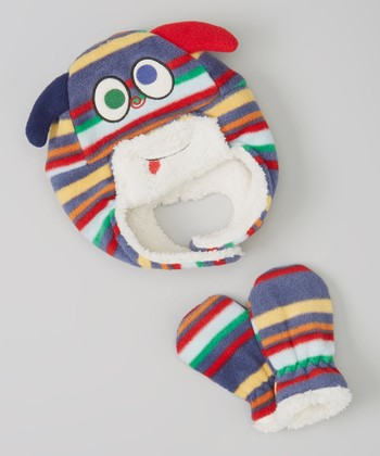 Blue & Red Stripe Monster Fleece Earflap Beanie & Mittens