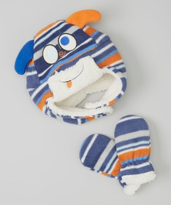 Blue & Orange Stripe Monster Fleece Earflap Beanie & Mittens