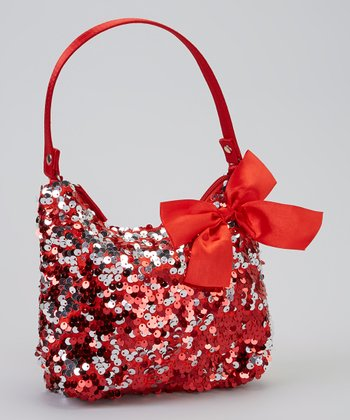 Red & Silver Paillette Hobo Bag