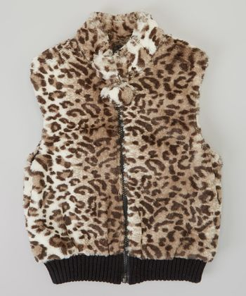 Gray Leopard Faux Fur Reversible Vest - Girls