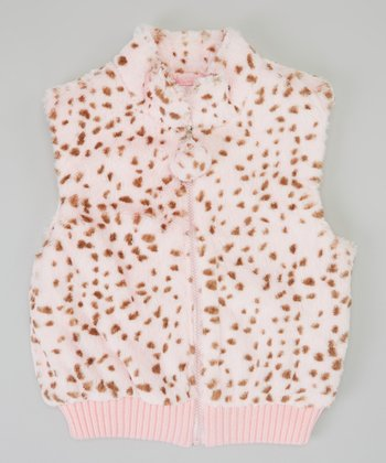 Pink Spot Faux Fur Reversible Vest - Girls