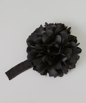 Black Satin Carnation Headband
