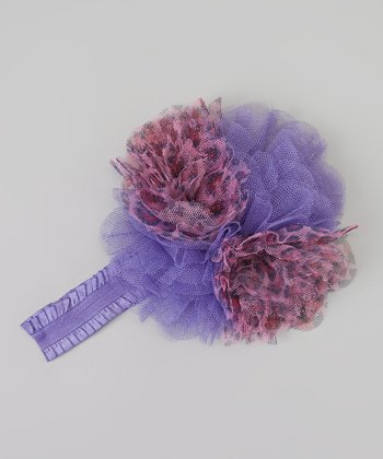 Purple Leopard Tulle Flower Headband