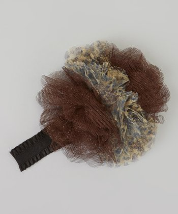 Brown Leopard Tulle Flower Headband