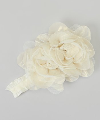 White Shimmer Rose Headband
