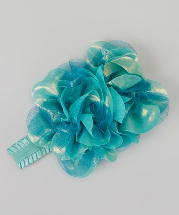 Teal Shimmer Rose Headband
