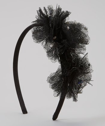 Black Sequin Tulle Flower Headband