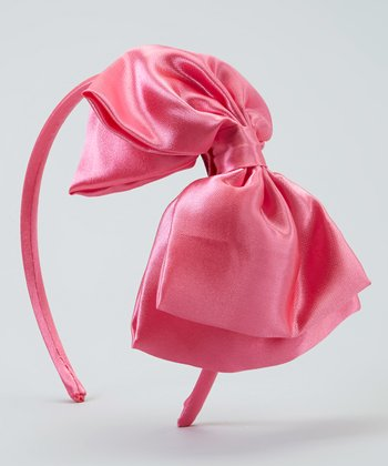 Pink Satin Bow Headband