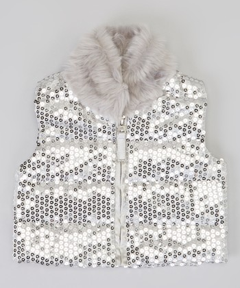 Silver Sequin Faux Fur Trim Vest - Infant & Toddler