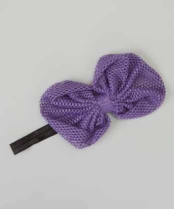 Purple Mesh Bow Headband