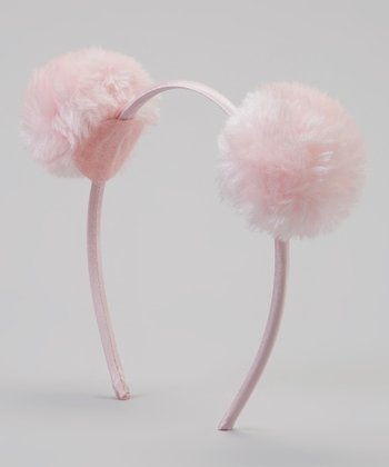 Pink Faux Fur Pom-Pom Ear Headband