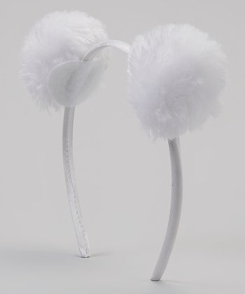 White Faux Fur Pom-Pom Ear Headband