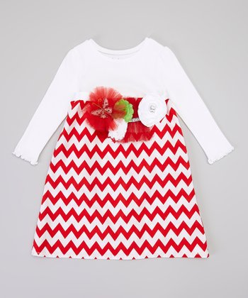 Red & White Zigzag Long-Sleeve Dress & Sash - Infant & Toddler