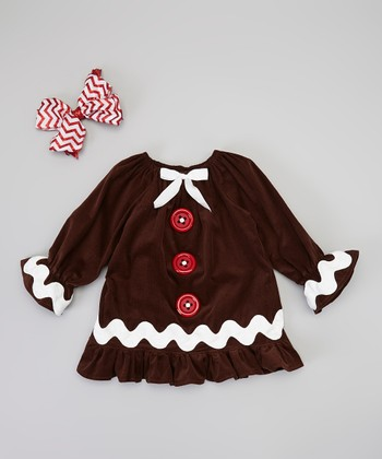 Brown & Red Zigzag Swing Coat & Clip - Infant, Toddler & Girls