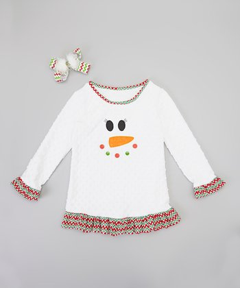 White & Red Zigzag Snowman Dress & Clip - Toddler & Girls