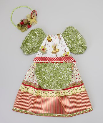 Green & Red Fairy Dress Set - Infant, Toddler & Girls